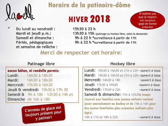 horaire patinoire