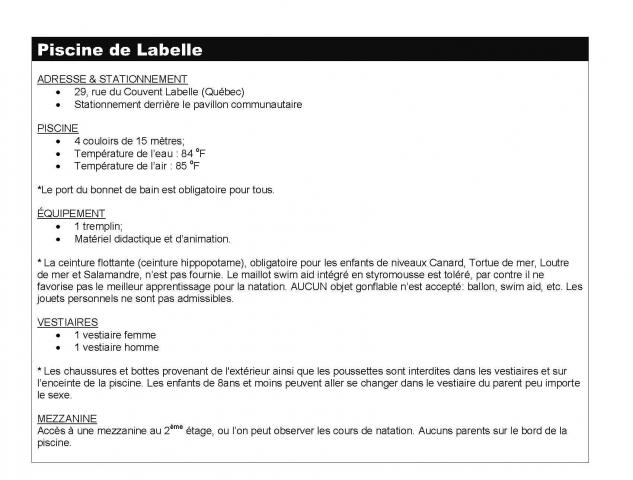 Description piscine de labelle